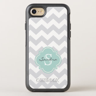 Monogram Gray Mint Green Chevron Pattern OtterBox Symmetry iPhone 8/7 Case