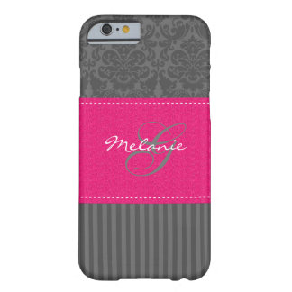 Monogram Gray Pink Damask Stripe iPhone 6 case Barely There iPhone 6 Case