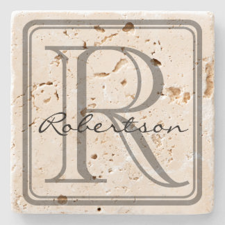 Monogram Gray Square Coaster