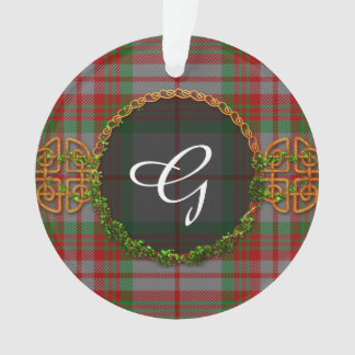 Monogram Gray Tartan Ornament