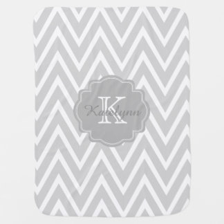 Monogram Gray Zigzag Custom Baby Blanket