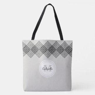 Monogram Greek Key Motif Tote Bag