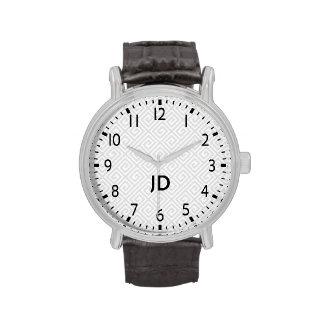 Monogram Greek Key Vintage Leather Strap Watch