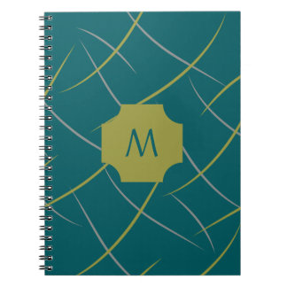 Monogram Green and Gray Swirls on Spruce Teal Notebook
