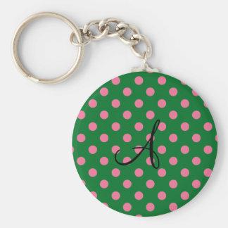 Monogram green and pink polka dots pattern keychain