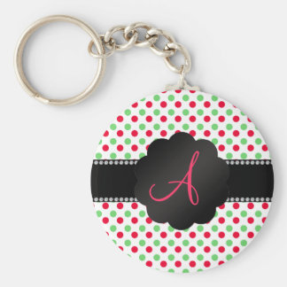 Monogram green and red polka dots keychains