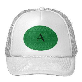 Monogram green aztec pattern hats