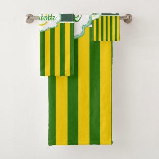 Monogram Green Balloon St Patricks Bath Towel Set
