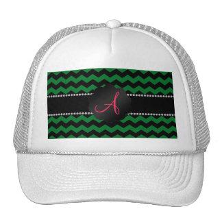 Monogram green black chevrons cap
