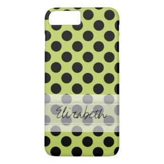 Monogram Green Black Cute Chic Polka Dot Pattern iPhone 7 Plus Case