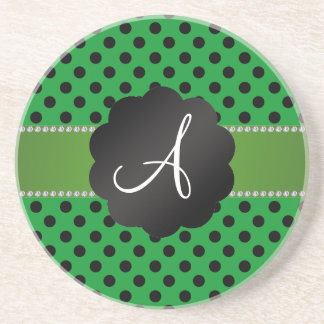 Monogram green black polka dots beverage coasters