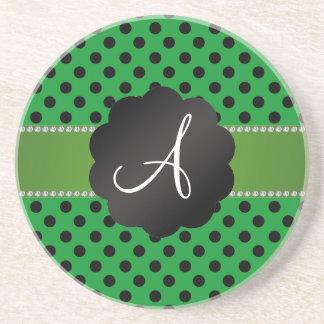 Monogram green black polka dots coaster