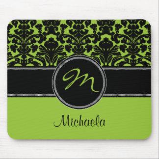 Monogram Green Black White Damask Mousepad