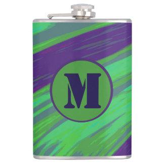 Monogram Green Blue Color Swish Flasks