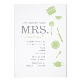 Monogram Green  Bridal Shower Invitations