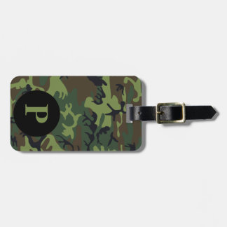 Monogram Green Brown Black Camo Camouflage Circle Luggage Tag
