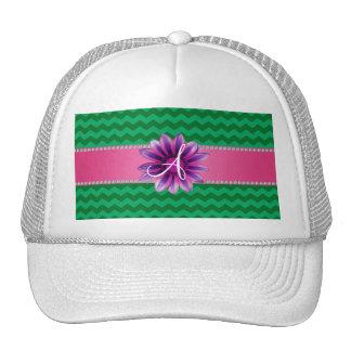 Monogram green chevrons pink daisy cap