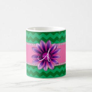 Monogram green chevrons pink daisy mugs