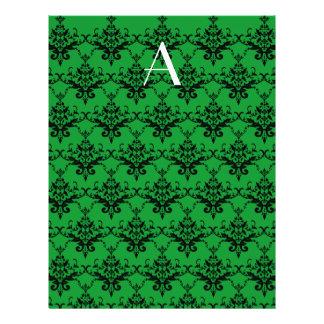 Monogram Green damask Custom Flyer