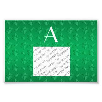 Monogram green dog paw prints photo print