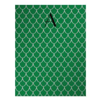 Monogram green dragon scales 21.5 cm x 28 cm flyer
