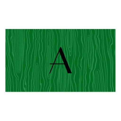 Monogram green faux bois business card template