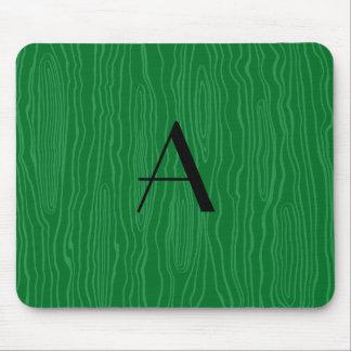 Monogram green faux bois mouse pad