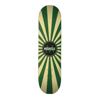 Monogram Green Funky Sun Rays Pattern Custom Skate Board