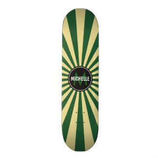 Monogram Green Funky Sun Rays Pattern Skate Boards