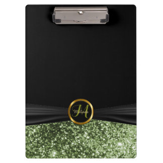 Monogram Green Glitter Design Clipboard