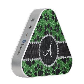 Monogram green glitter dog paws