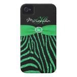 Monogram Green Glitter Zebra iPhone 4/4S Case