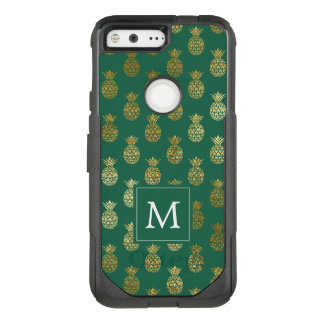 Monogram | Green & Gold Pineapples OtterBox Commuter Google Pixel Case