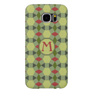 Monogram green grey red tiles pattern samsung galaxy s6 cases