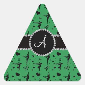 Monogram green gymnastics hearts bows triangle sticker