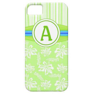 Monogram Green Hibiscus & Surfboard iPhone 5 Case