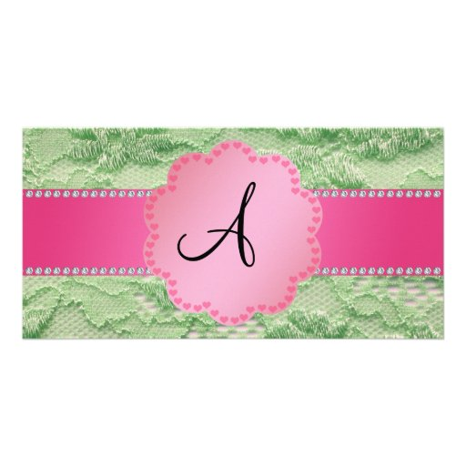 Monogram green lace photo cards