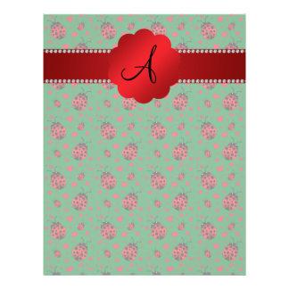 Monogram green ladybugs hearts dots 21.5 cm x 28 cm flyer