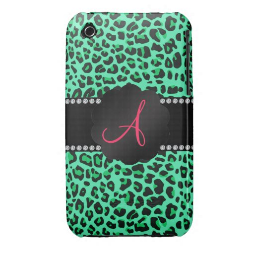 Monogram green leopard pattern iPhone 3 cases