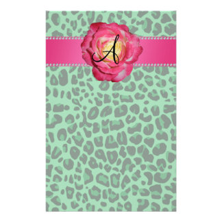 Monogram green leopard print pink rose stationery