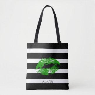 Monogram Green Lips And Black White Stripes Tote Bag