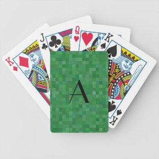 Monogram green mosaic squares bicycle playing cards