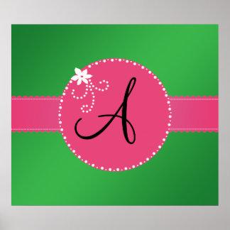 Monogram green pink flower circle poster