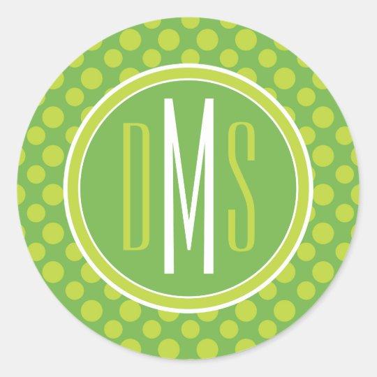 Monogram   Green Polka Dots Classic Round Sticker