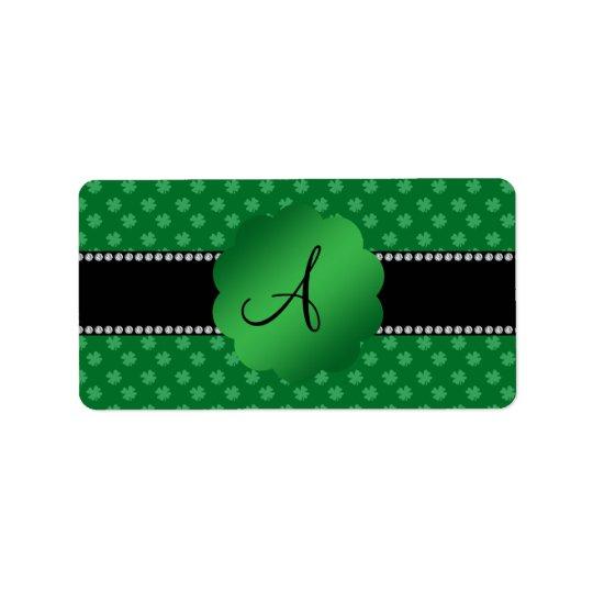 Monogram green shamrocks address label