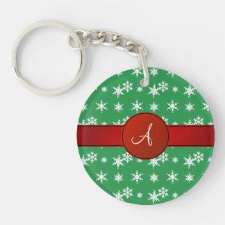 Monogram green snowflakes red circle acrylic key chains