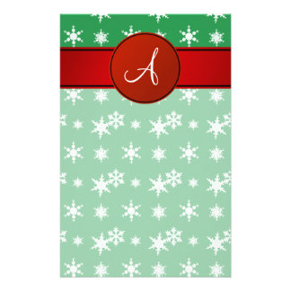 Monogram green snowflakes red circle personalized stationery
