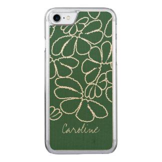 Monogram Green Whimsical Ikat Petal Doodle Pattern Carved iPhone 8/7 Case