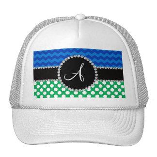 Monogram green white polka dots blue chevrons cap