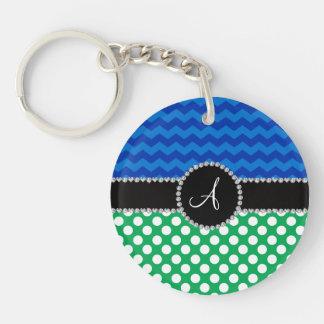 Monogram green white polka dots blue chevrons keychains